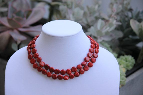 Simple Red Coral Necklace  Two Tiered Blood Red Coral by Munkoot, $26.00