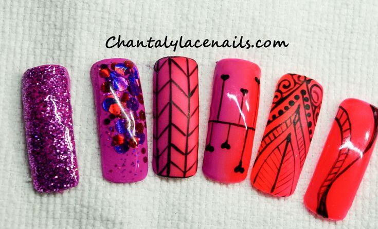 neon nail colors/ fine line art