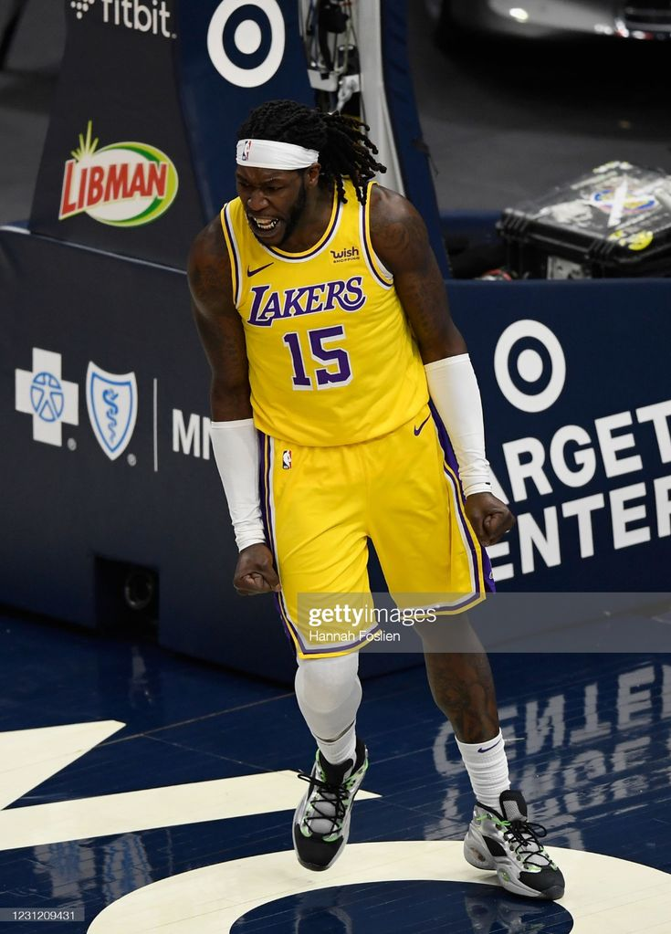 Montrezl Harrell of the Los Angeles Lakers celebrates making a ...