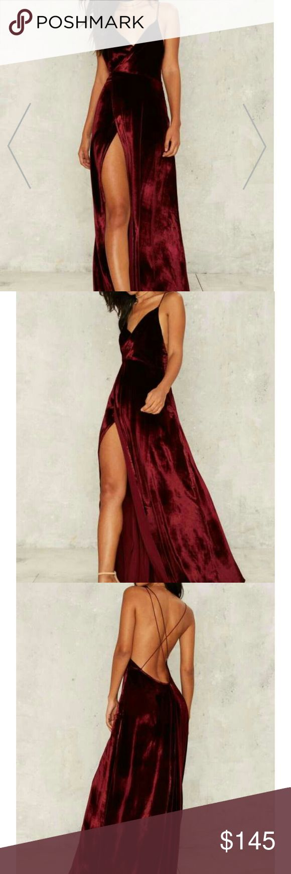 The Jetset Diaries Callie Velvet Maxi Dress Burgundy velvet and features a plunging neckline, maxi length, high slit at front, and zip closure at back. By The Jetset Diaries.  *Content 18% Silk 82% Viscose Nasty Gal Dresses