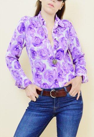 Vintage+90s+purple+floral+print+70s+style+shirt