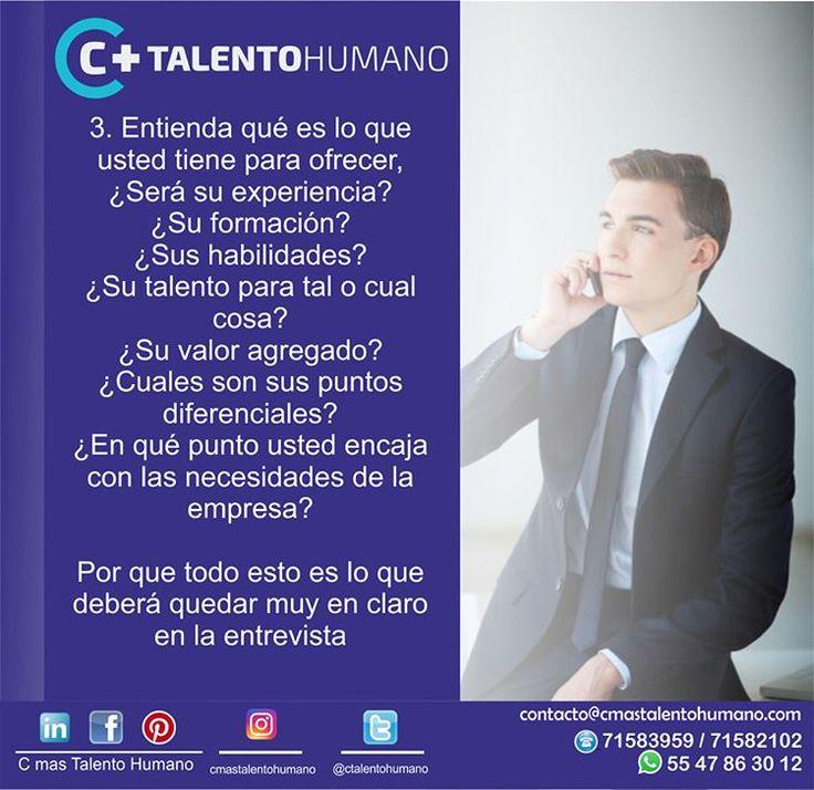 #CMásTalentoHumano #Tips para #EntrevistaDeTrabajo