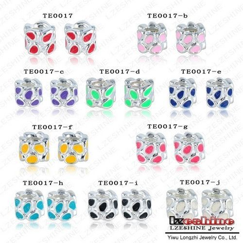 LZESHINE Chamilia Charms Beads Jewelry Accessories 20Pcs Silver Plate Mixed Flower Enamel Beads Fit European Bracelets TEmix1