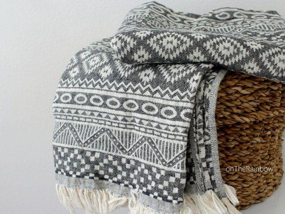 Bohemian Beach Towel | White Black Bath Towel | Navajo Picnic Blanket | Geometric Throw Blanket | Southwestern Boho Blanket | Aztec Scarf
