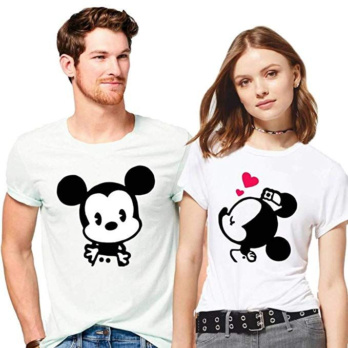 7c6a23c470 Hangout Hub 100% Cotton Couple Tshirts Mickey Minnie Printed White Color  Casual Half Sleeve Round Neck Stylish and Comfortable Men-L,Women-XL