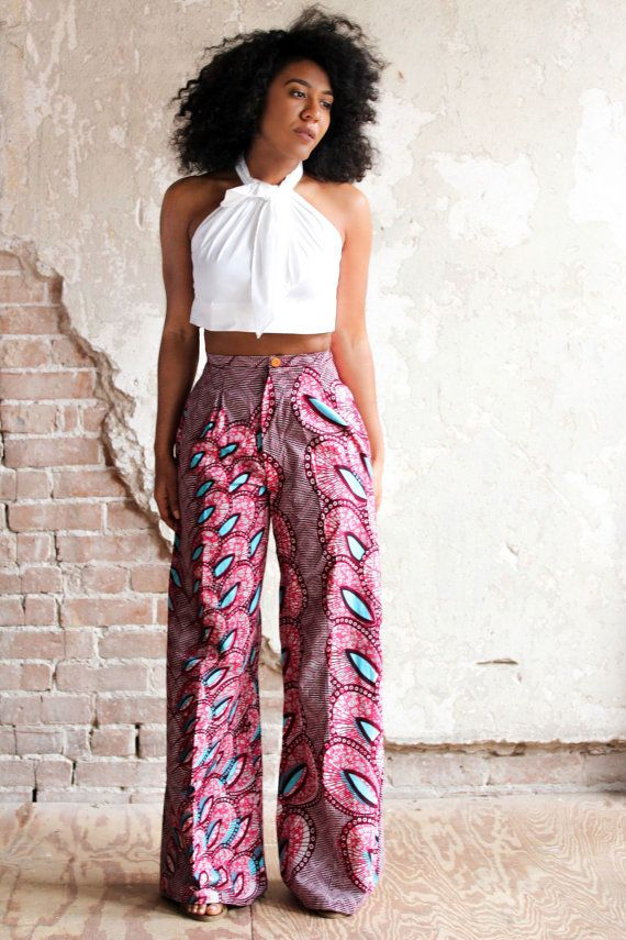 African inspired style inspiration.  Wide leg African Print Pants with side seam pockets - The Chrissy Trouser.