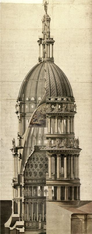 Alessandro Antonelli - Cupola di San Gaudenzio.  The Section and Elevation hybrid works well because of the symmetry in the drawing!