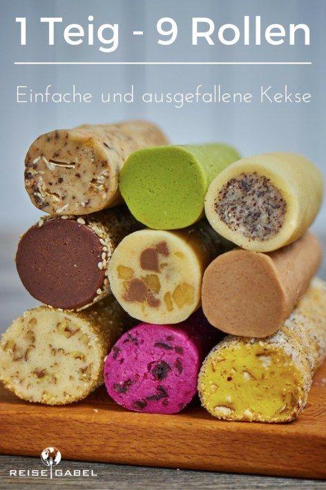 1 Teig - 9 Rollen.  Wie man aus einem Grundteig ganz einfach 9 verschiedene Kekse machen kann.