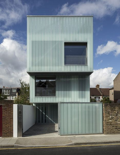 Slip House, London - Carl Turner Architects.  I like the translucent glass panels on the exterior of this building!