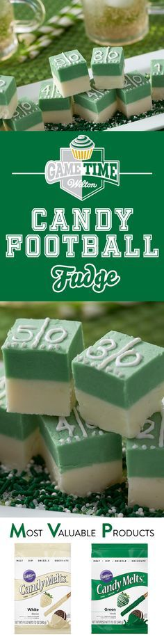 Learn to make this delicious Candy Melts football field fudge! This easy-to-make sweet treat is sure to be a hit at any football tailgate or party. It's just the right bite for any football fan. Use  green and white Candy Melts to create a football field look!