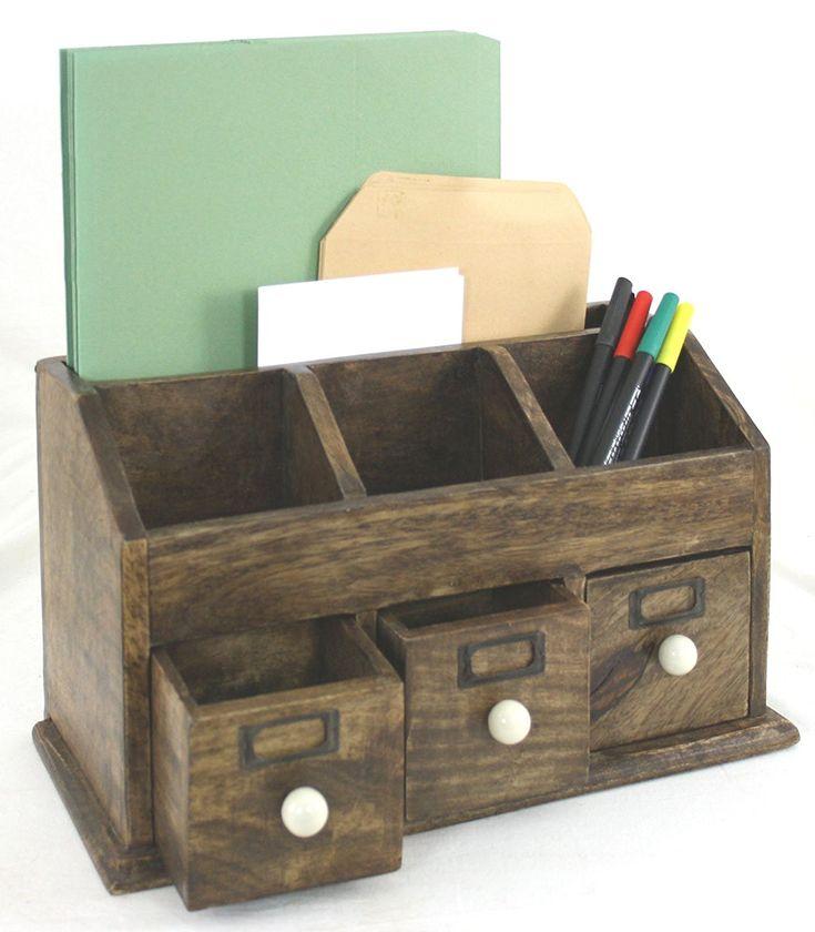 Polished Natural Solid Wood Desk Organiser or Letter Rack: Amazon.co.uk: Kitchen & Home