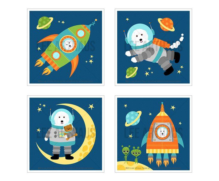 11S Dog Art Print - White Labradoodle in Space Print Set - Set of 4 Prints - Space Nursery Wall Art - Astronaut Print - Dog Decor - Kids Art by leearthaus on Etsy https://www.etsy.com/listing/399872151/11s-dog-art-print-white-labradoodle-in