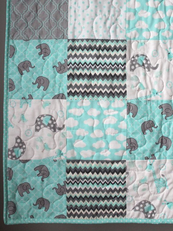 Aqua Crib Quilt Elephant Crib Bedding Aqua Grey Gray