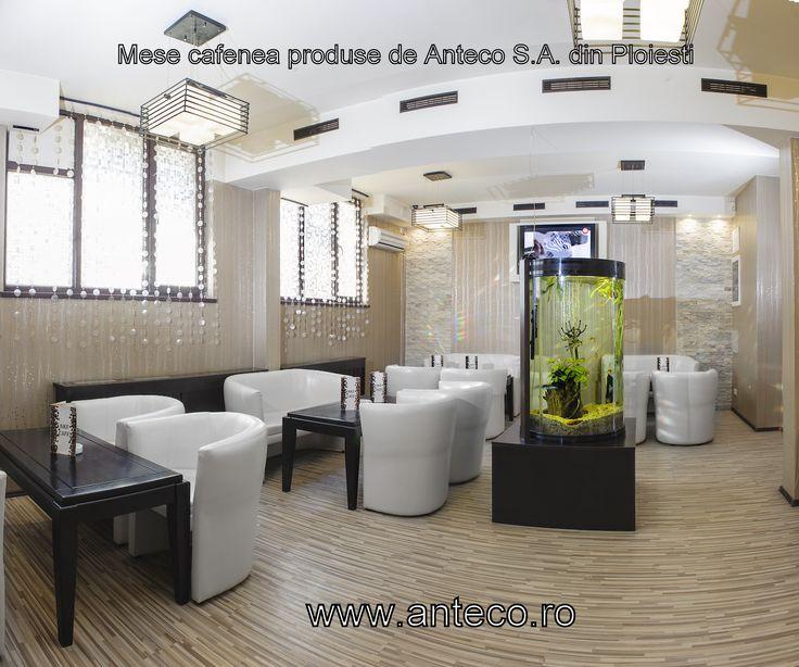 Fabrica de mobila Anteco S.A. di ploiesti produce mese din lemn masiv pentru cafenea