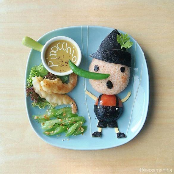 Pinocchio, food art by Samantha Lee - fancy-edibles.com