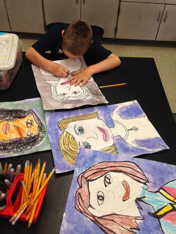 Jamestown Elementary Art Blog: 1st grade mothers day portraits