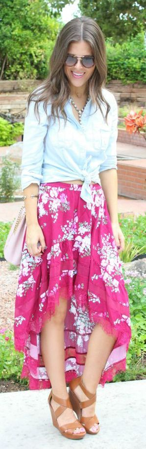 Floral, Lace And Chambray Outfit Idea by Sophistifunk