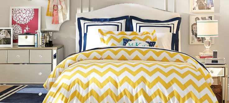 raleigh chevron yellow bedroom