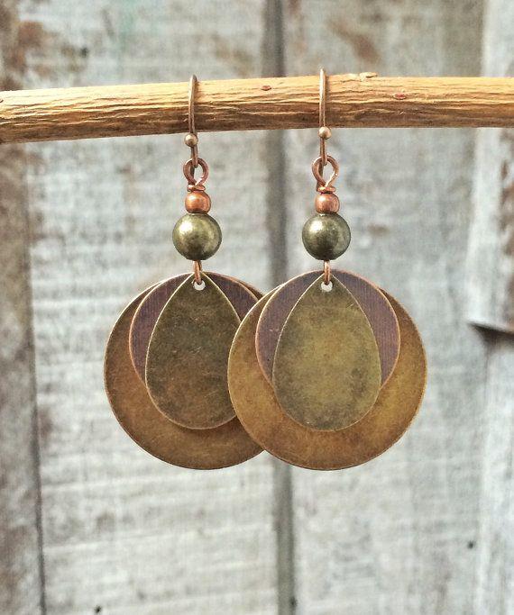 Gemengde metalen oorbellen van ebben hout schijf oorbellen, bengelen oorbellen, koperen sieraden, geometrische oorbellen