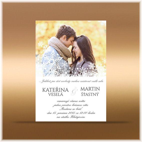 Zimní svatební oznámení s vločkami sf208