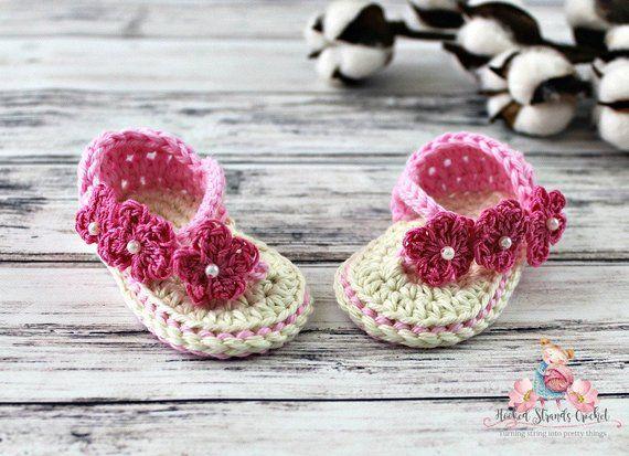 1c5fc7b9236bb Pink flower sandals, Infant flip flops, Infant shoes, Summer shoes ...