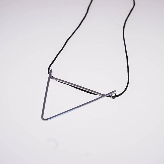 Silver triangle necklace long geometric necklace triangle
