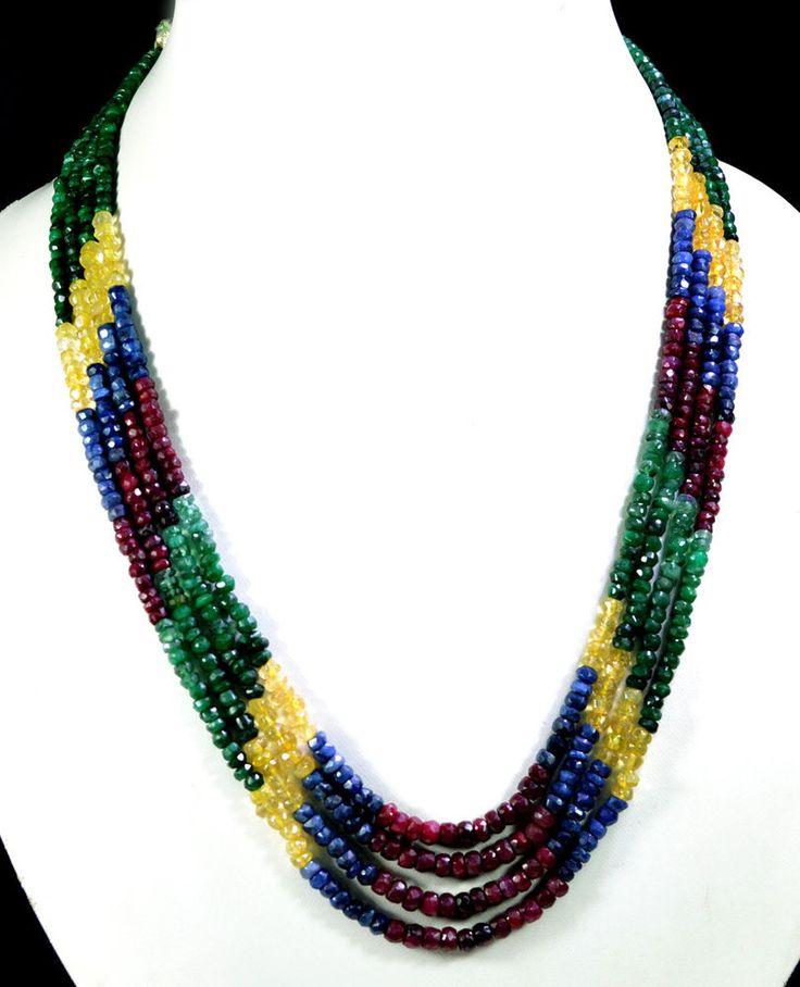 4 Strands Natural Ruby Emerald Sapphire 269ct Multi Row Gemstone Beads Necklace #KrishnaGemsNJewels #StrandString