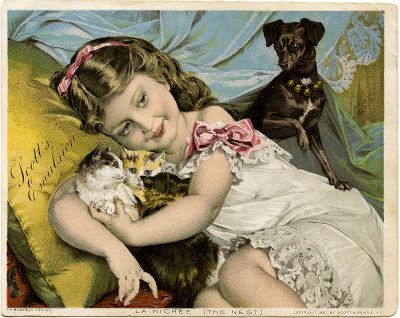 Vintage Advertising Image - Darling Girl with Cats & Dog - The Graphics Fairy