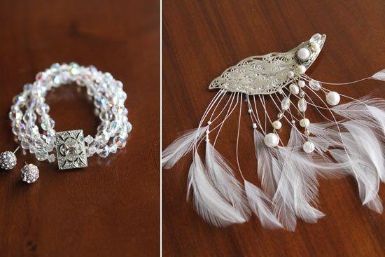 DIY wedding jewelry and hairpiece