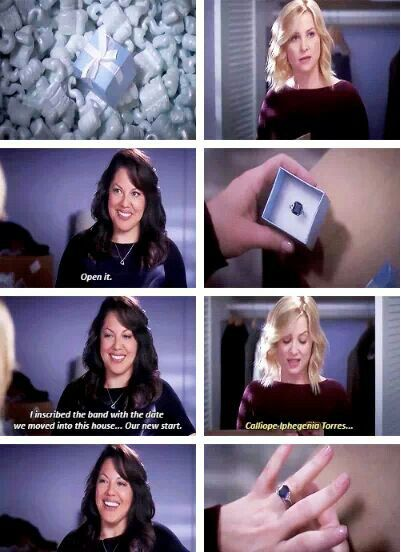 Callie Torres: Open it. I inscribed the band with the date we moved into this house...our new start. Arizona Robbins: Calliope Iphegenio Torres... Grey's Anatomy quotes
