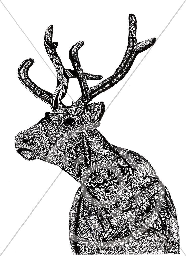 Reindeer | Free hand drawn zentangle design