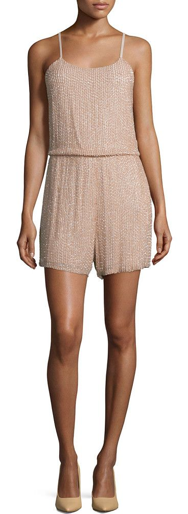 """Mika sleeveless beaded silk romper by Alice + Olivia. Alice + Olivia """"Mika"""" beaded romper in silk. Approx. length: 25""""L from shoulder to hem, 23""""L down..."""