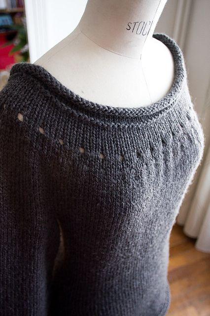 Beautiful Ballet Neckline Marilyn Sweater - so pretty! #sweaterknitingpattern