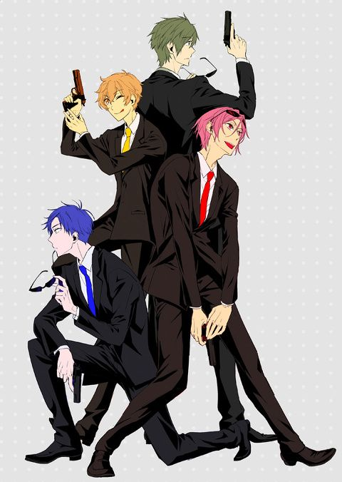 Free! ES ~~ Notice who is NOT present. Perhaps these four are actually just Haruka's bodyguards or his version of the Secret Service? Guess that makes him royalty. :: Rei, Nagisa, Makoto, and Rin