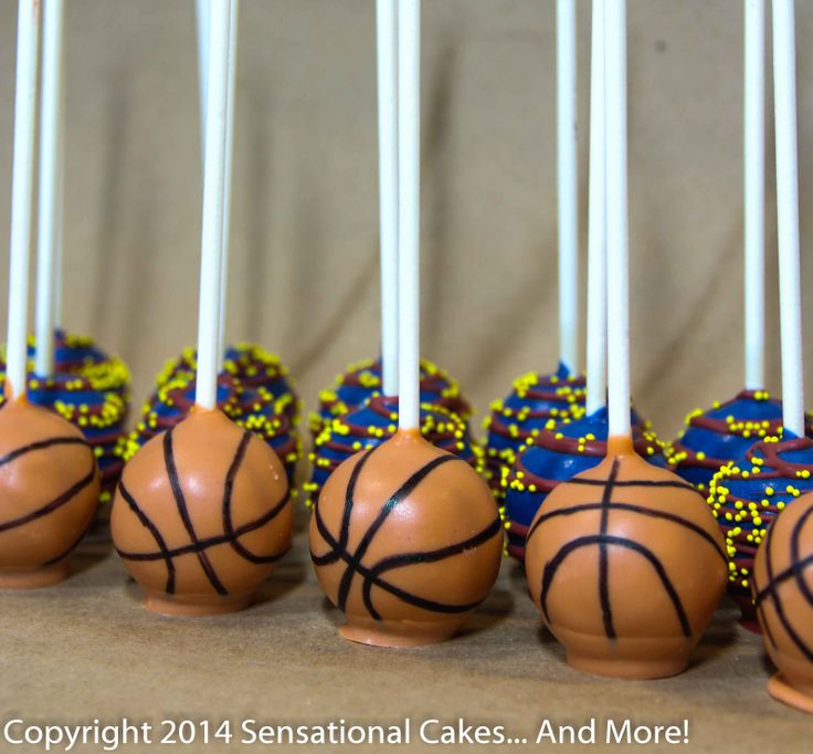 Basketball pops coupled with Cleveland Cavaliers team colors. Great birthday treats! www.SensationalCakesAndMore.com
