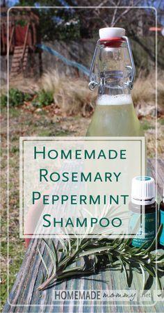 Homemade Rosemary Peppermint Shampoo | www.homemademommy.net #diybeauty #essentialoils
