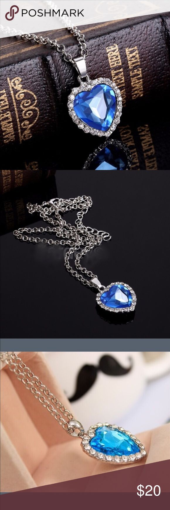"""Replica of """"Heart of the Ocean"""" Necklace This necklace is so pretty. It is of course a rhinestone and crystals. Such a beautiful tribute to a necklace well known. So sentimental  Jewelry Necklaces"""