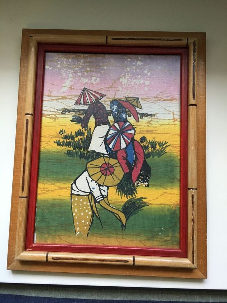 Vintage Mid Century Asian Framed Colorful Silk Screen