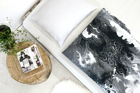 Scandinavian bedding set, duvet cover,  - 100% cotton sateen with black and white abstract painting, digital printing of my original acrylic painting,  BUY (worldwide shipping): https://www.etsy.com/listing/482073296/complete-bed-set-flow-100-cotton-sateen?ref=shop_home_active_1