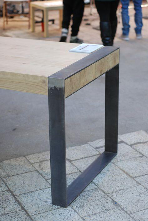 Mesa de comedor hecha a mano. Diseño minimalista por Poppyworkspl