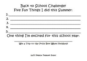 Liz's Speech Therapy Ideas: Back to School Challenge!
