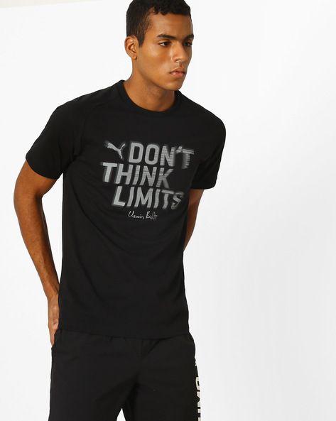 Buy Puma Men Black Usain Bolt Slim Printed T-shirt | AJIO