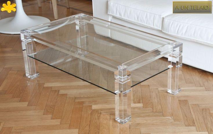 Lucite Acrylic coffe table - TAVOLINI DA SALOTTO IN PLEXIGLASS   Tavolo trasparente in plexiglas 04.mod. A UN TELAIO a due piani   Tavolino in plexiglass cm.100 x 60 h.40 - telaio sp.mm.40 - gambe sez.mm.70 - vetro inferiore sp. mm.10