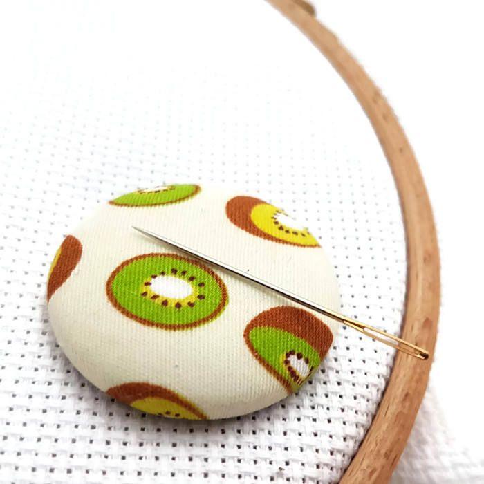 Kiwi Needle Minder-Reversible Needleminder-Magnetic-Cross Stitch-Embroidery-Sewing-Needlepoint-Fruit Needle Minder-Craft Supply-Polka Dots