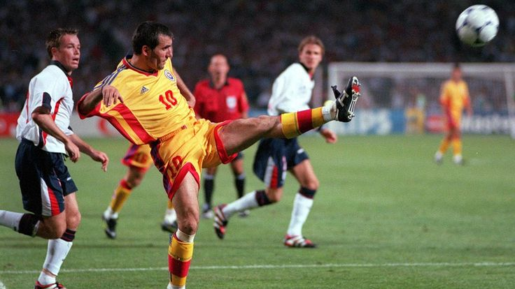 Romania's Gheorghe Hagi in action against England at France 1998.