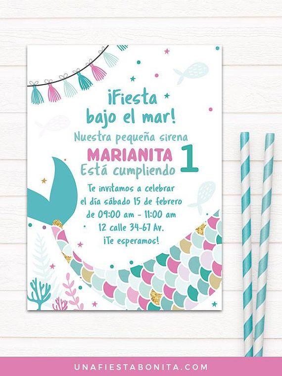 Little Mermaid First Year Invitation Birthday Mermaid