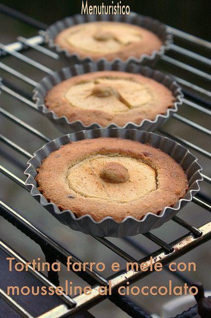 Tortine farro e mele con mousseline al cioccolato di montersino