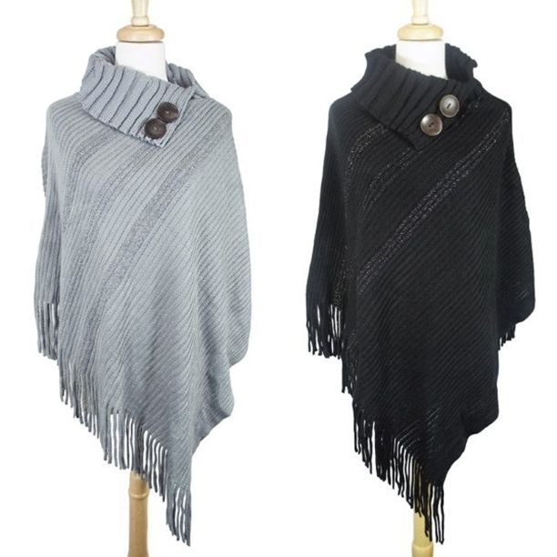 Double Button Ribbed Fringe Poncho - One Size. Available in Black, Grey, Oatmeal & Kacki ~ Shop our Tuesday Specials ~   * Clothing 20% off * Name Brands 15% off * Scarves, Leggings, Hats 20% off Both Statesville & Mooresville locations open 10-6
