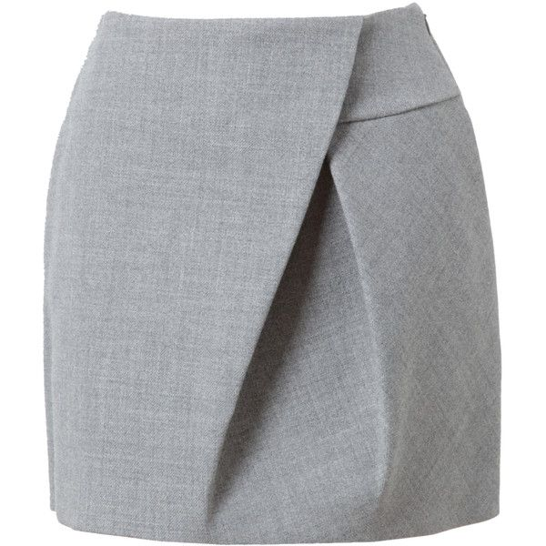 3.1 PHILLIP LIM Asymmetric Folded Wool Miniskirt ($190) ❤ liked on Polyvore featuring skirts, mini skirts, bottoms, saias, gonne, woolen skirts, gray wool skirt, mini skirt, asymmetrical skirt and 3.1 phillip lim