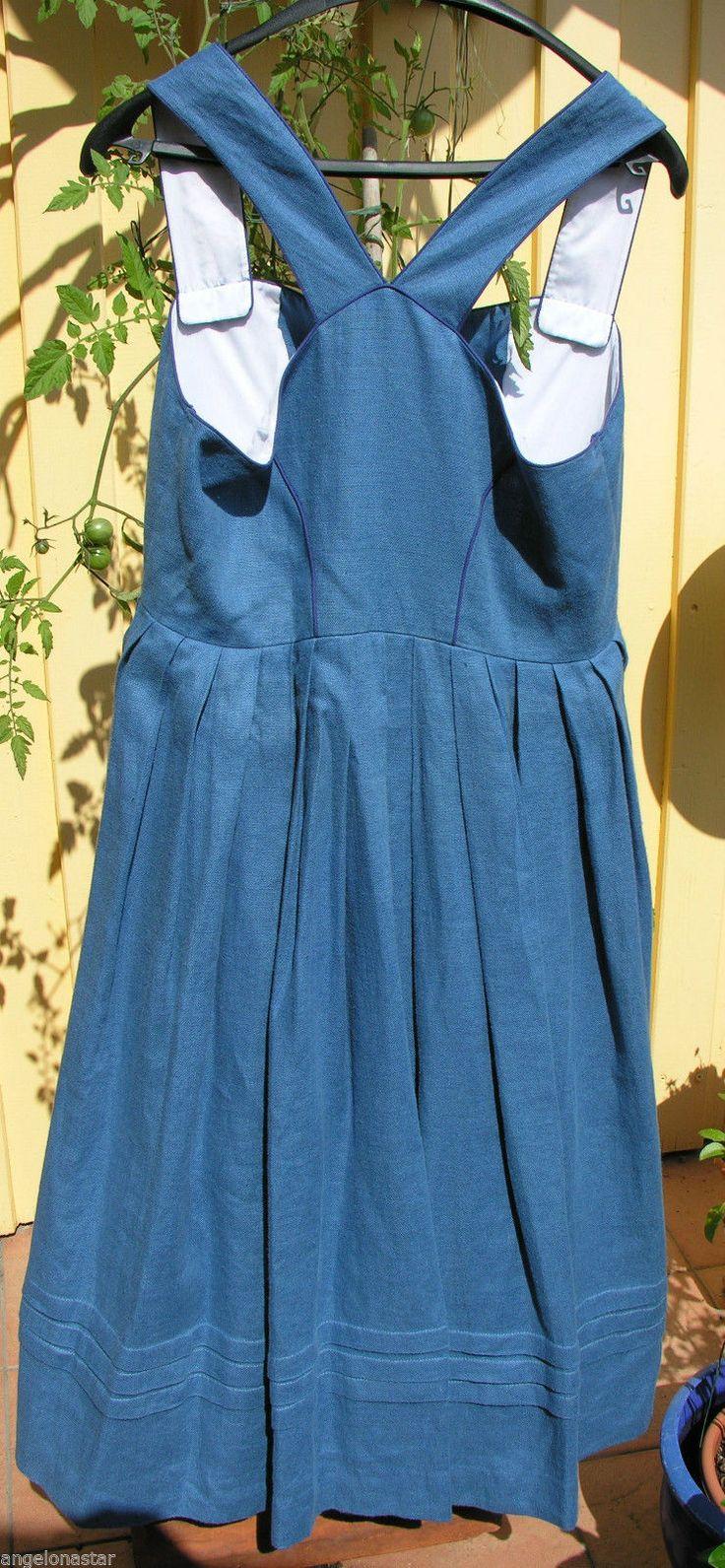 Dirndl Tracht Kleid Übersee blau Leinen 40 42 44 Oktoberfest gebraucht gefüttert | eBay